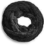 Grin&Bear warmer weicher Loop Schal mit Strick Muster und weichem Fleece Innenfutter A21-1