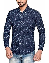PP Shirts Men Blue Coloured Printed Shirt