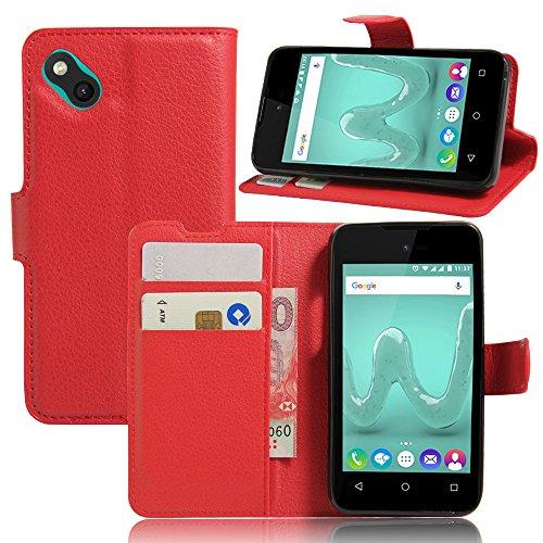 Wiko Sunny / Wiko B-Kool Handyhülle Book Case Wiko Sunny / Wiko B-Kool Hülle Klapphülle Tasche im Retro Wallet Design mit Praktischer Aufstellfunktion - Etui Rot