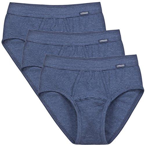 3er Pack - Ammann - Jeans - Herren Sport Slip - Unterhose Feinripp mit Eingriff und weichem Komfortbund Größe 5 - 12 - Dunkelblau und Anthrazit Blau