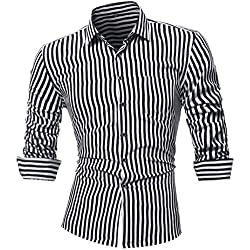 Camisas hombre Rayas de manga larga camiseta de otoño e invierno estilo invierno,YanHoo® Mens Casual color manga larga camisa negocio Slim Fit camisa impresa blusa (Negro, XL)