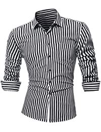 Camisas hombre Rayas de manga larga camiseta de otoño e invierno estilo invierno,YanHoo® Mens Casual color manga larga camisa…