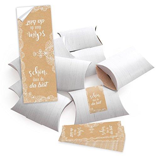 25 kleine Geschenkboxen Holz Optik weiß 14,5 x 10,5 cm ca. 3 cm Höhe + 25 SCHÖN DASS DU DA BIST Aufkleber 5 x 15 cm Verpackung beige creme-farben Spitze vintage