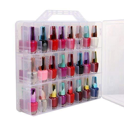 Portable transparent boîte d'affichage de stockage de vernis à ongles avec double faces , capacité maximale de 48 bouteilles d'espace réglable