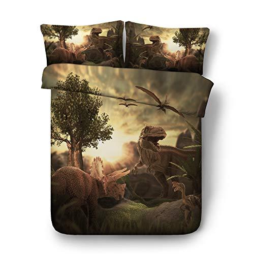 RoyalLinens 3-teiliges Bettwäsche-Set für Jungen, Dinosaurier-Design, 3D, Einzelbett, Queen, Super-King-Size, T-Rex-Bettbezug und Kissenbezüge, Jf565, Single Size 3pcs
