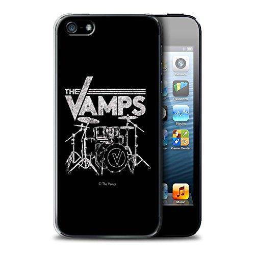 Offiziell The Vamps Hülle / Case für Apple iPhone 5/5S / Weiß/Schwarz Muster / The Vamps Graffiti Band Logo Kollektion Schlagzeug