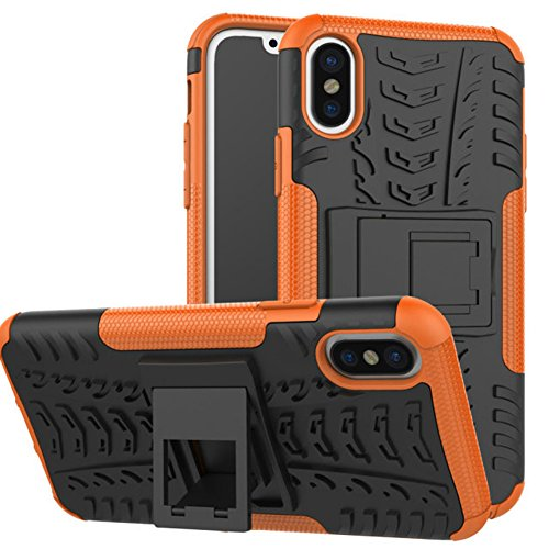 Uniqstore iPhone X Hülle Heavy Duty Shock Proof Armour Dual Protection Case Cover mit Ständer Halter Grün Orange