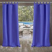 UniEco Outdoor Curtain Garden Patio Balloon Curtains Blackout Curtains Waterproof Mildew Resistant for Pavilion Beach House, 1 Piece, 132x215cm, Royal Blue