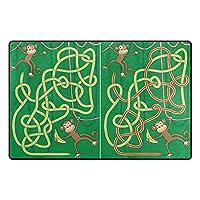 Orediy Soft Rugs Monkey Maze Lightweight Area Rugs Kids Playing Floor Mat Non Slip Doormat Nursery Rug for Living Room Bedroom