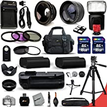 Mega Pro 34 Piece Accessory Kit for Nikon D7100 DSLR Camera Includes High Definition 2X Telephoto Lens + High Definition Wide Angle Lens + Multi Power Battery Grip + 2 High Capacity EN-EL15 ENEL15 Batteries with Quick AC/DC Charger + External Flash + 32GB High Speed Memory Card (2 x 16GB Memory Cards) + Full Size Pro 72 Inch Tripod + Large Well Padded Case + 3 Piece Filter Set + 2 UV Protection Fi