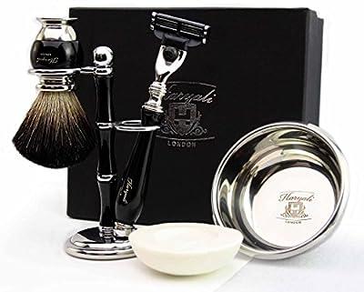 100% Hand Made Shaving Set for Men's. Ideal Gift This Christmas. The set Includes Pure Black Badger Hair Shaving Brush, Gillette Match 3 Razor, Shaving Bowl with Soap and Brush Holder. Newly deigned By Haryali London
