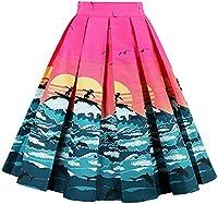 Eudolah Women's Vintage Floral Swing Full Circle Pleated Skirts SunBeach2XL