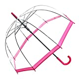 Regenschirm Transparent / Durchsichtig Glockenschirm Automatik Rand pink