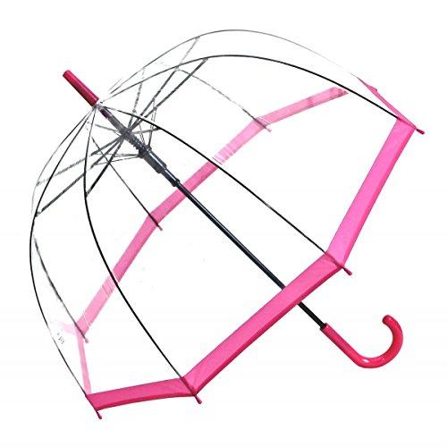 Regenschirm Transparent/Durchsichtig Glockenschirm Automatik Rand pink