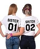 Sister T-Shirt Für 2 Mädchen Best Friends Shirt BFF Oberteile Freunde Tops Damen Schwarz Weiß Baumwolle Schwester Geschenk 2 Stücke