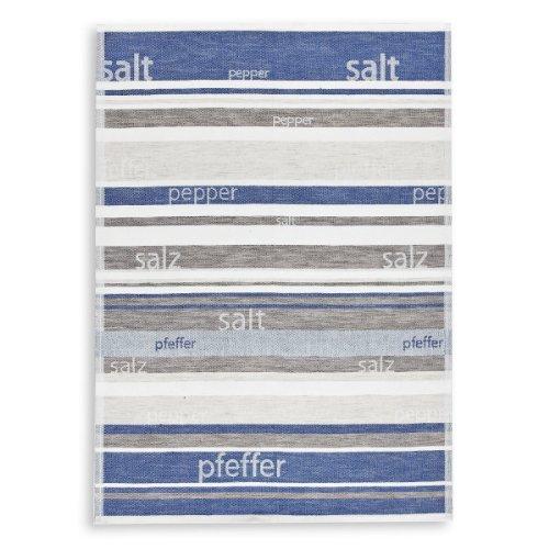Torchon métis Jacquard , lin&coton, TRIOLINO®, poivre et sel, bleu, 50x70cm