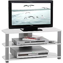 IDIMEX Meuble TV Bas Banc TV Design Jack MDF décor Blanc et Gris