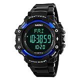 Farsler Multifunction Men's 50M Waterproof Big dial Digital Watch Pedometer Heart Rate Calorie Track EL Light Outdoor Sports Men Tide Electronic Watch (Blue)