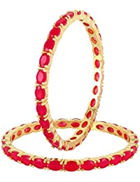 Cardinal Tradtional American Diamond Ruby Gold Plated Bangle Set Antique Latest Design Jewellery For Women /Girl