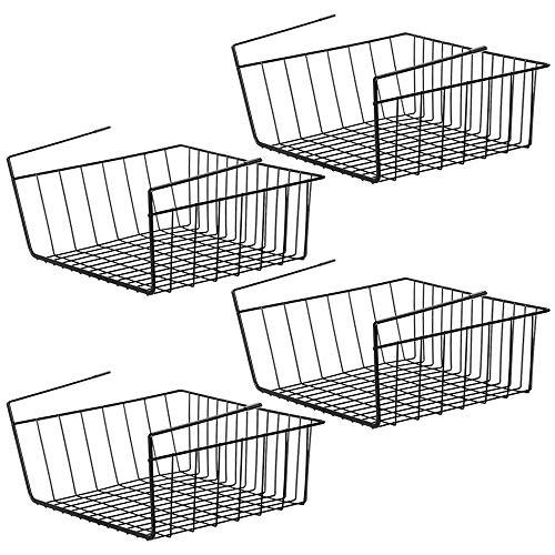 NEX Unterregalkorb, 4 Stück, Unterschrank, Korb, Ablage, Hängekorb, Organizer für Speisekammer, 39,62 x 25,2 x 14,8 cm, Schwarz -