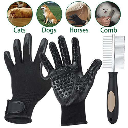 SlowTon Pet Hair Grooming Glove and Comb Set, Five Fingers Gentle Rubber Massage Grooming Gloves and Double Sided Steel Needle Comb, Animal Hair Grooming Tool for Dogs Cats Bathing Deshedding Grooming