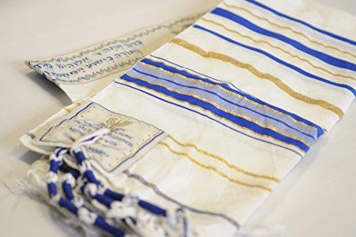 Cejilla de oración Messianic Tallit, color azul y dorado con bolsa de talis