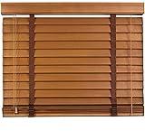 Jalousie, Plissee, Holzjalousie Echtholz, Lamellenbreite 50mm, Crown L Mittelbraun 150cm x 250cm (B x L)