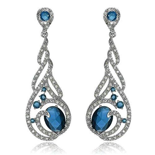 Kind Blau Seemann Kostüme (Aooaz Damen Ohrstecker Ohrhänger Silber Vergoldet Weinstock Silber Blau 16 x)