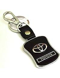 AutoSun Toyota Leather Keychain - (8cmL X 6cmB,Black)
