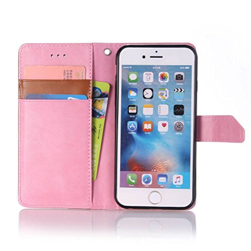 Uming® spéciales Séries Motif Colorful Imprimer cas PU Holster Case ( Hit color Pink & Brown - pour IPhone6SPlus IPhone 6SPlus 6Plus IPhone6Plus ) Artificial-cuir flip avec support Stander titulaire d Hit color Pink & Brown