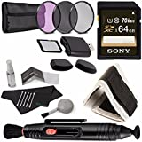 Sony 64GB UHS-I SDXC Memory Card (Class 10) + 58mm 3 Piece Filter Set (UV, CPL, FL) + Memory Card Wallet + SD/microSD Memory Card Reader + Lens Pen Cleaner + 5 Piece Lens Cleaning Kit Bundle