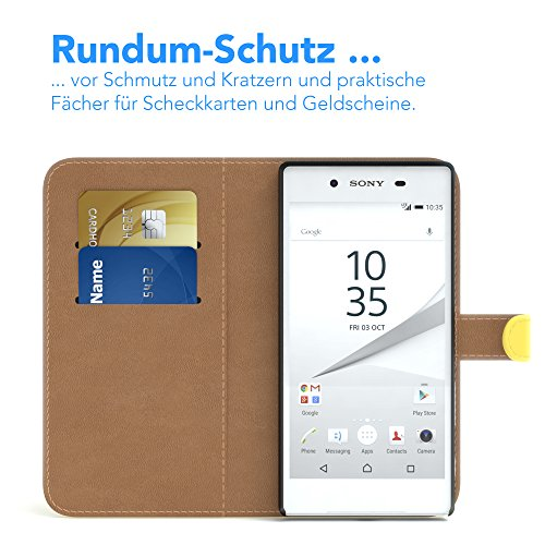 Sony Xperia Z5 Hülle - EAZY CASE Premium Flip Case Handyhülle - Schutzhülle aus Leder in Grün Gelb (Book)