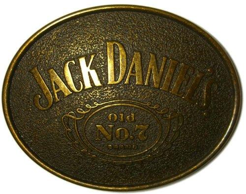 Preisvergleich Produktbild JACK DANIEL'S 'OLD BRASS' OVAL Offiziell Lizenzierte Gürtelschnalle + Präsentierständer