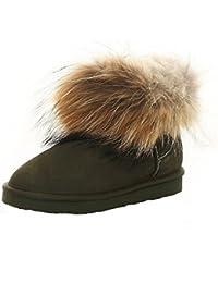 572f92ef2fa890 SKUTARI Wildleder Damen Winter Boots Warm Gefüttert Schlupf-Stiefel mit  Stabile Sohle Weiche Fell