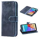 Mulbess Handyhülle für Xiaomi Mi A2 Lite Hülle, Leder Flip Case Schutzhülle für Xiaomi Mi A2 Lite Tasche, Dunkel Blau