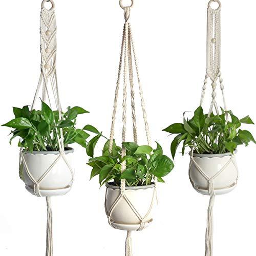 Yonimu 3 Sortes de Pots de Plantes en macramé Cintre, Support de Plante pour planteur Suspendu pour intérieur en Plein air Maison Jardin Bureau décor