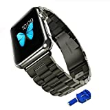 Apple Watch Band, Mkeke@ Apple Watch Sport Band 42mm Space Gray Aluminum Case with Black Sport Band with Screw Tool (Apple Watch Band Only Without Wat
