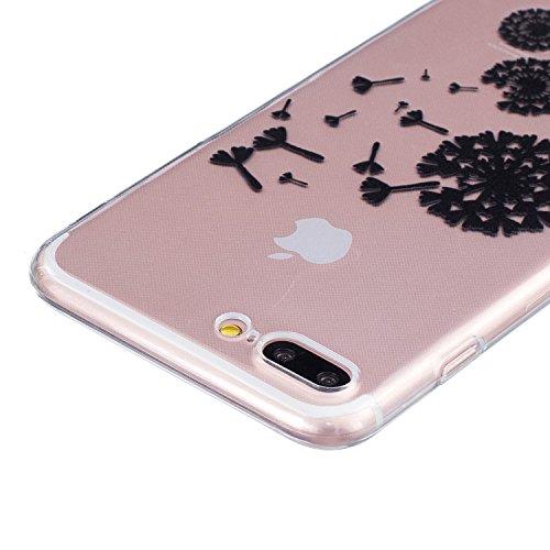 iPhone 7 Plus Hülle,SainCat iPhone 7 Plus Silikon Hülle Tasche Handyhülle Cartoon Retro Muster [Löwenzahn] Schutzhülle Transparent TPU Gel Case Bumper Weiche Crystal Kirstall Clear Silikonhülle Durchs Schwarz-Fliegen Löwenzahn