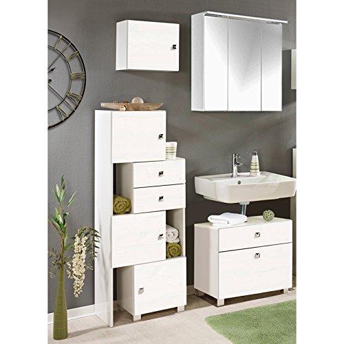 Lomadox Badmöbel Set komplett in Glanz weiß, mit 1 Schieberegal, Waschbeckenschrank, 1 Hängeschrank und LED-Spiegelschrank, B x H x T ca. 123-153 x 195 x 34,5 cm OTAVI-04