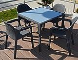 Gartenmöbel GRANIT 5er-SET 90x90cm Lechuza Tisch (Glasplatte) & 4 Stühle NEU