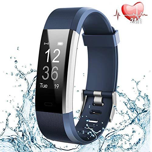 Fitness Tracker Cardiofrequenzimetro,Orologio Fitness Contapassi Activity Tracker Impermeabile IP67 Smartband Bracciale Braccialetto Pedometro da Polso GPS Smart Watch per Uomo Donna Android e iOS-Blu