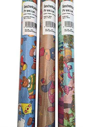 Green Paper Geschenkpapier für Kinder, 3-er Pack Rolle, 3 m (lang) x 50 cm (breit), 8041