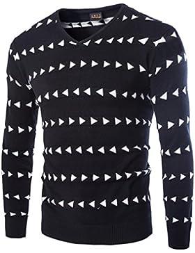 Uomini maglione sottile ed elegante con collo a V e manica lunga, nero, 180 / 92A