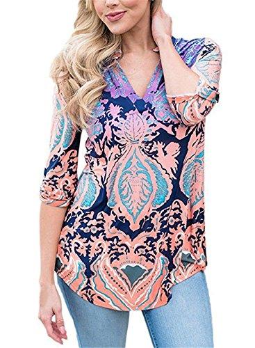 Damen Freizeit Lange Ärmel V-Ausschnitt Blumen Bluse Elegante Frauen Tunika Oberteile Vintage Hemd T-Shirt (Rosa, S/EU 36-38)
