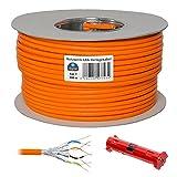 HB Digital Netzwerkkabel LAN Verlegekabel cabel 100m cat 7 Kupfer + Abisolierer (groß) S/FTP PIMF LSZH Halogenfrei orange RoHS-compliant cat. 7 Cat7a AWG 23/1