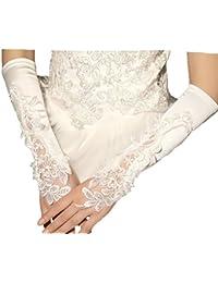 Unbekannt Brauthandschuhe fingerlos Braut Handschuhe Perlen Pailletten Hochzeit Weiß Ivory Stulpen Brautstulpen Hochzeitsstulpen