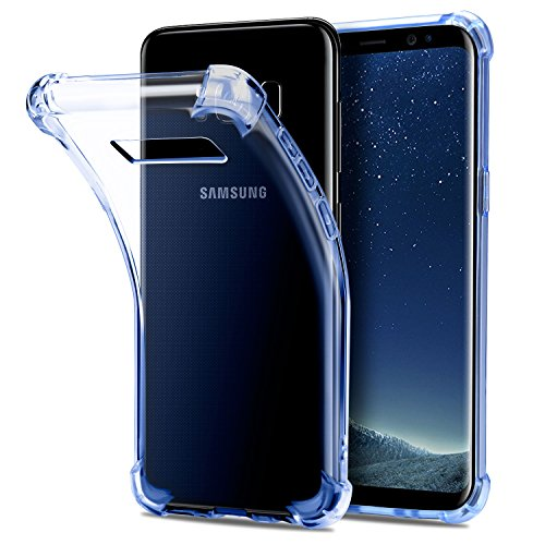 """Samsung Galaxy S8 Funda, Danibos Crystal Clear Funda protectora a prueba de golpes Transparente Bumper Gel Case {Colchón de aire} para Samsung Galaxy S8 (5.8 """") (Azul Cristal)"""
