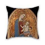 Pillow Case Oil Painting Cecco Di Pietro - Virgin And Child Playing With A Goldfinch And Holding A Sheaf Of Millet Pillow Cases ,best For Relatives,christmas,car Seat,couch,festival,bf 20 X 20 Inc