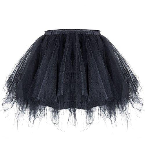 ZeWoo Damen Tutu Unterkleid Kurz Blase Ballett Tanzkleid Ballklei Abendkleid Zubehör (Schwarz Tutu)