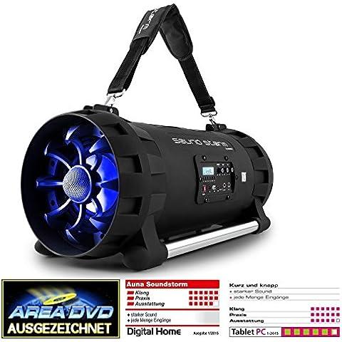 auna Soundstorm altavoz boombox con Bluetooth (altavoz portátil con batería, 1.000 W potencia, USB, NFC, Bluetooth, radio FM, amplificador digital, correa para transporte) - negro